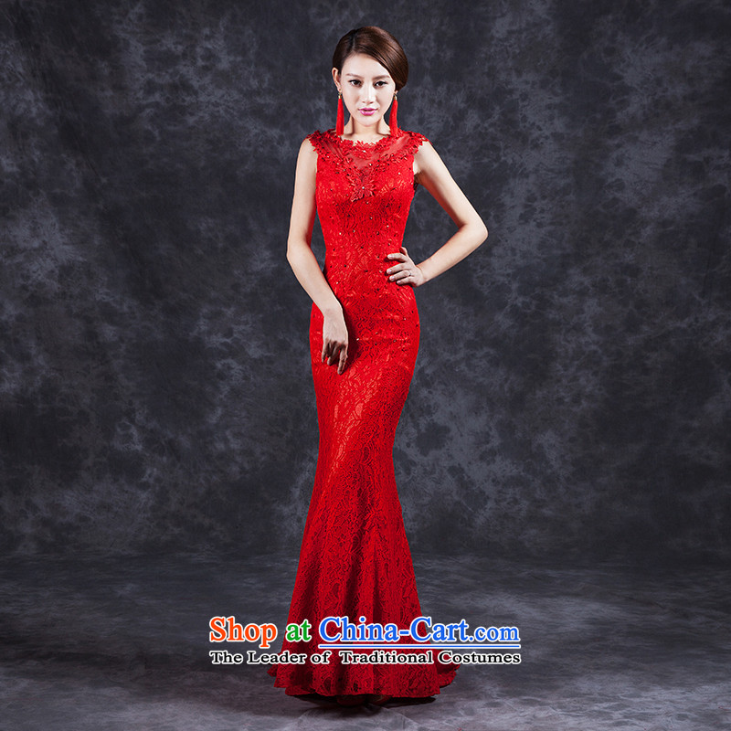 Ya Arts Workshop 2015 new summer bows services red bride wedding dress 2015 new summer Korean modern long-sleeved long word shoulder crowsfoot cheongsam red燲XL