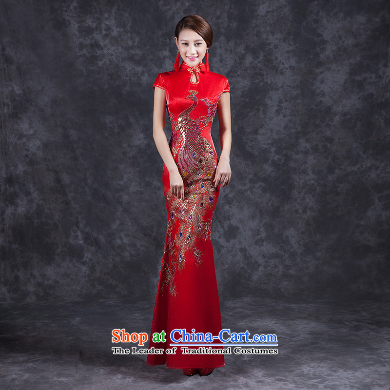 Had to hold workshop on Nga Yi summer bride bows services word crowsfoot shoulder wedding dresses skirt improved long summer 2015 Chinese wedding dress lace Sau San RED燤