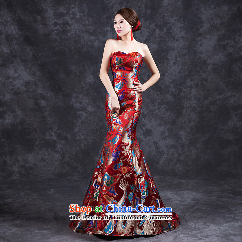 Ya Arts Workshop 2015 new summer retro bride dress red qipao bows service     crowsfoot red dress long tail new red anointed chest crowsfoot燣