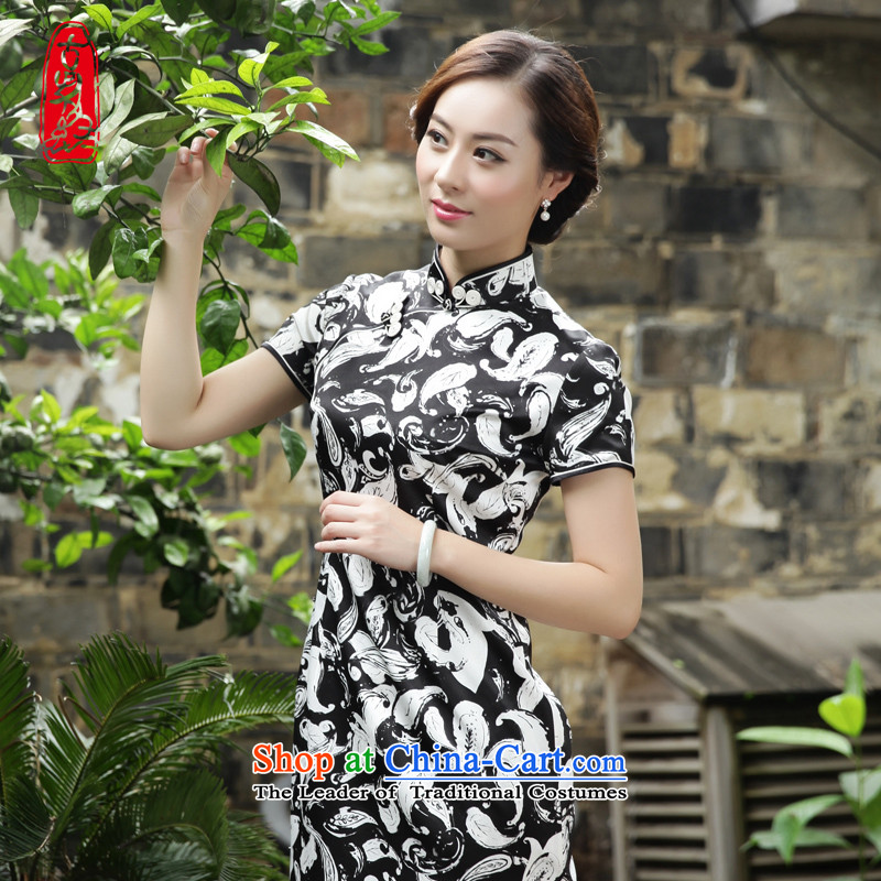 The Wu female red燼utumn 2015, replacing the new Silk Cheongsam dress in Sau San long style everyday women's dresses elegant stamp�631A101 XL
