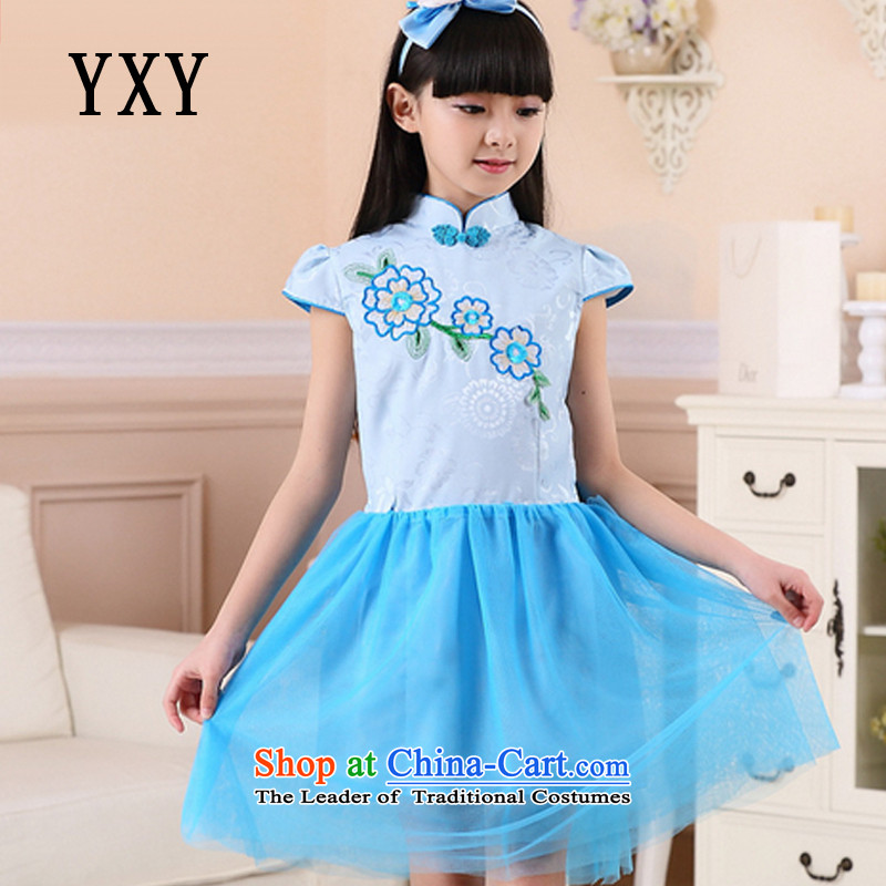 In line cloud girls qipao embroidered dress skirt girls' festival performances cheongsam dress燤T51254爈ight blue�0cm