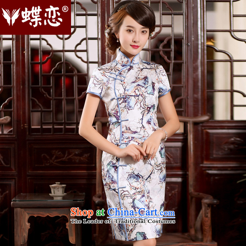 The Butterfly Lovers 2015 Summer new stylish short of Qipao upscale manually disc silk tie herbs extract retro cheongsam dress figure - pre-sale 7 day?S