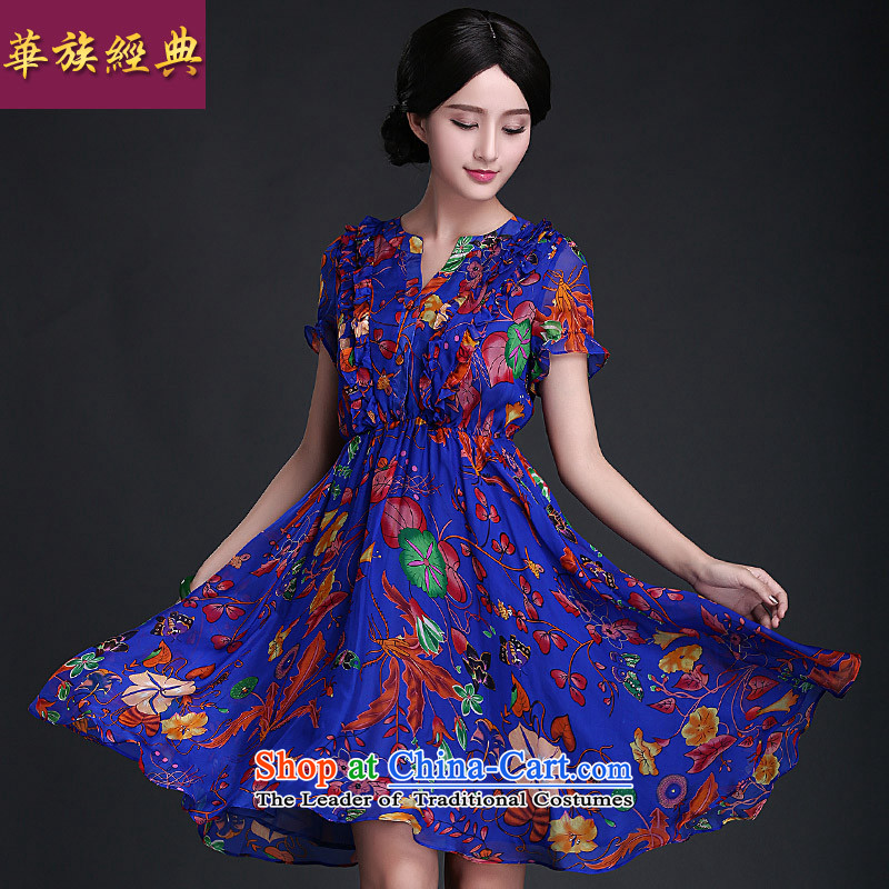 China-stamp Retro classic skirt in summer 2015 Skirt Stylish retro Sau San qipao improved dress suit聽XXXL