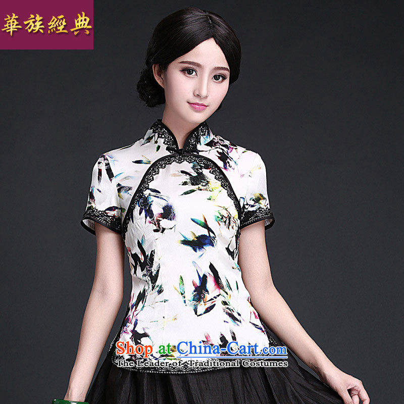 China Ethnic Chinese Tang dynasty qipao classic silk shirt herbs extract China wind female Han-ethnic improved summer Suit M