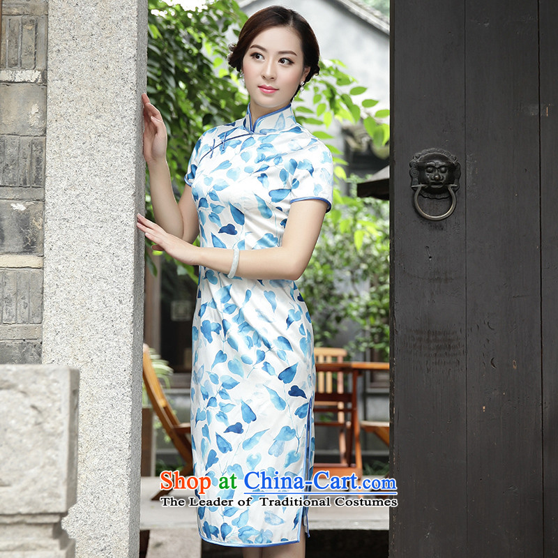 The Wu female red燼utumn 2015 New Silk cheongsam dress with long-in Sau San-to-day, dresses fresh�616A102 stamp S