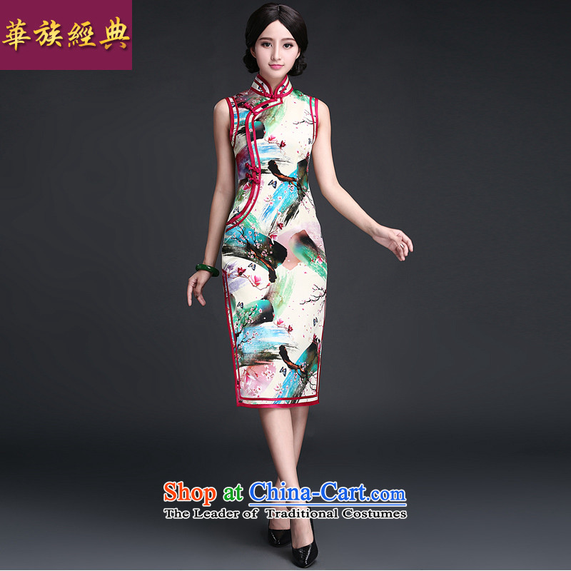 The new classic ethnic Chinese silk cheongsam dress 2015 Summer improved retro daily fashion, improved long suit?XXXL