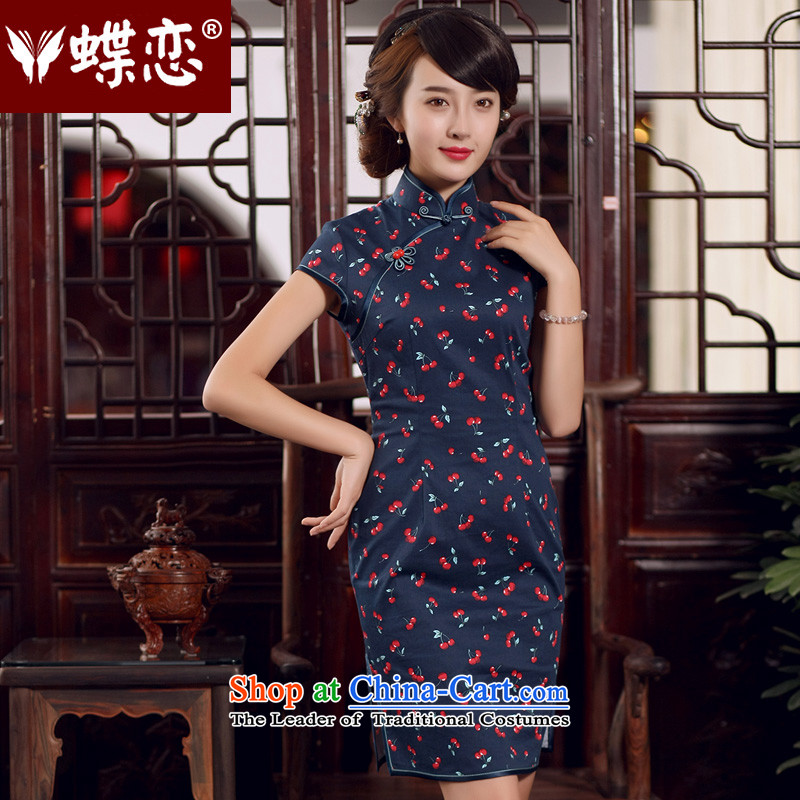 The Butterfly Lovers 2015 Summer New Stylish retro-day   improved graphics thin cotton cheongsam dress figure?S