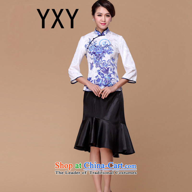 In line cloud qipao qipao shirt improved RXB14201-1 Sau San S long-sleeved