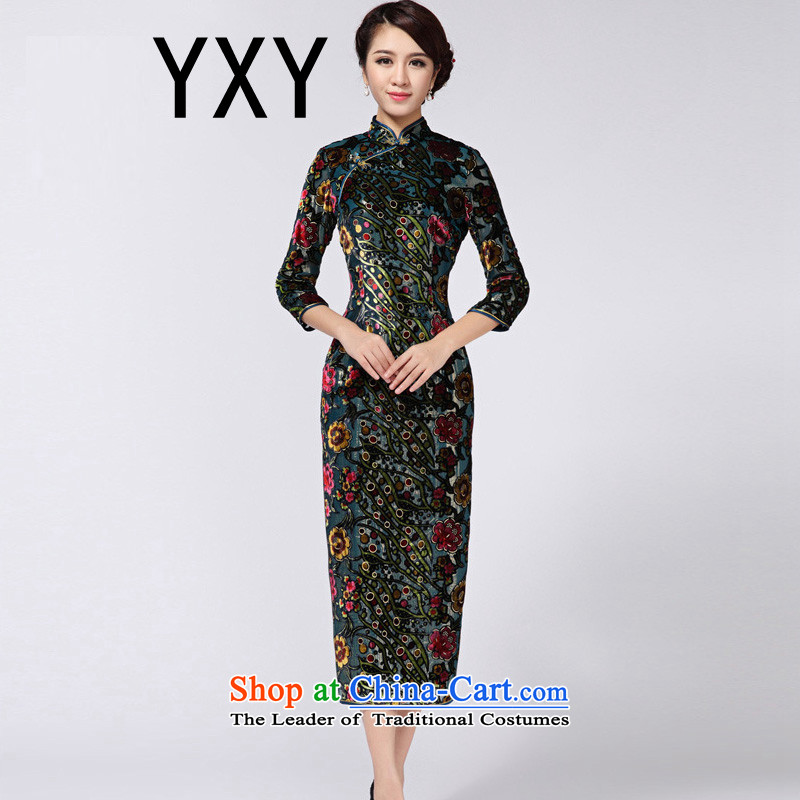 In line cloud cheongsam look like video thin banquet Sau San long wool qipao RXA814 green?L