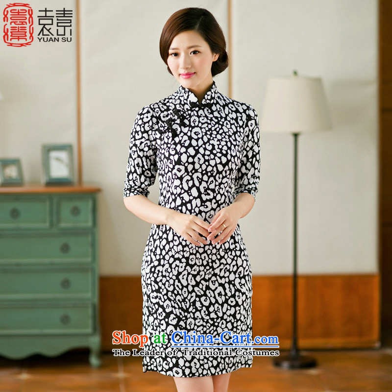 Yuan of memories of燦ew cheongsam dress 2015 autumn day-to-day summer load improved qipao cheongsam dress female燳S燘lack燲L