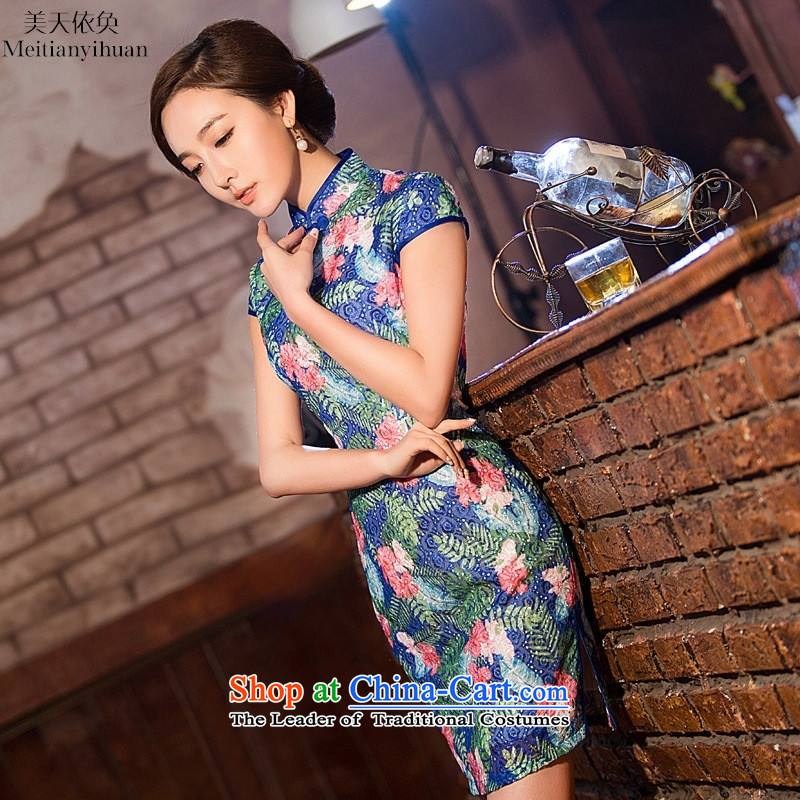 Lace cheongsam dress 2015 new stylish spring and summer daily suit cheongsam large composite code picture color燤