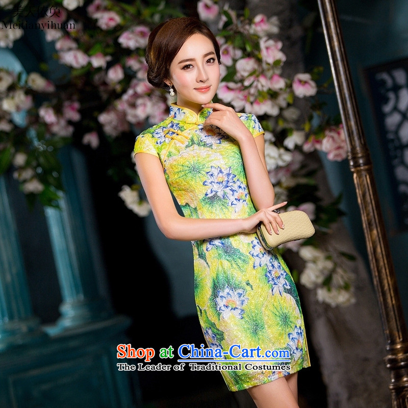 The new Composite lace Stylish retro cheongsam dress in spring and summer daily qipao gown picture color燬