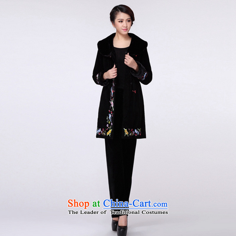 In line cloud qipao Tang dynasty China Wind Jacket RXA9110 cotton coat Black聽XL, stake line cloud (youthinking) , , , shopping on the Internet