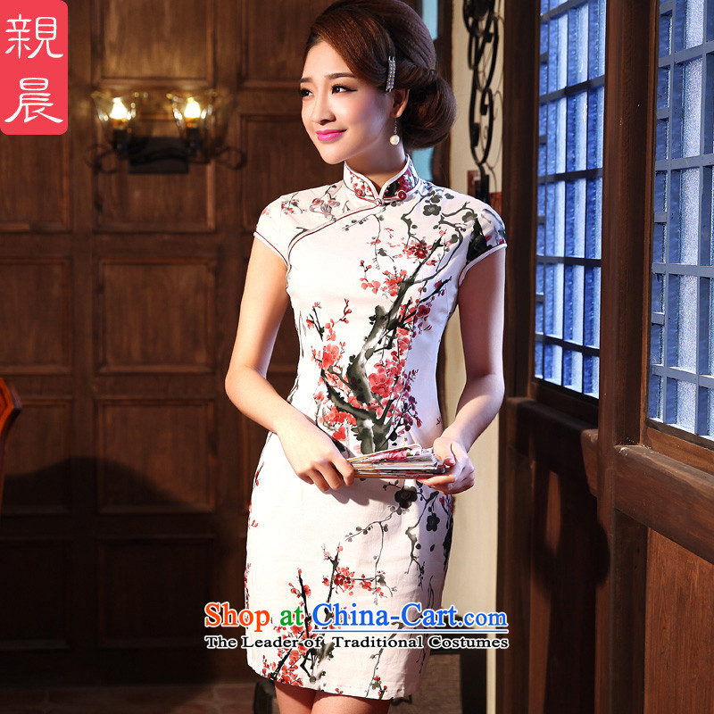 ? pro-am- 2015 new summer daily short, Retro Sau San improved short-sleeved female qipao Fashionable dresses picture color燲L