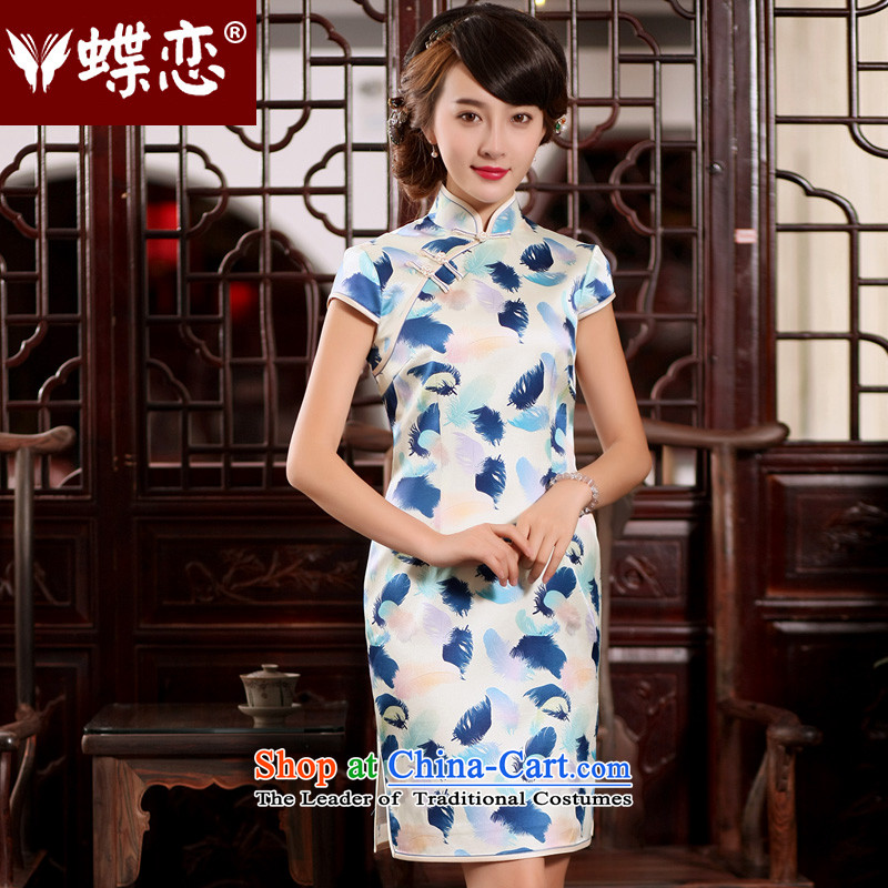 The Butterfly Lovers 2015 Summer new retro silk short, improved stylish Sau San silk cheongsam dress figure - pre-sale 7 days?M