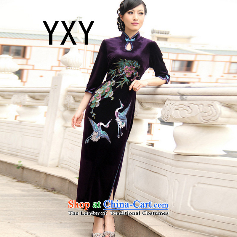 In line China dresses qipao cloud. The forklift truck long hand-painted retro RXA603 qipao black燲XXL Sau San