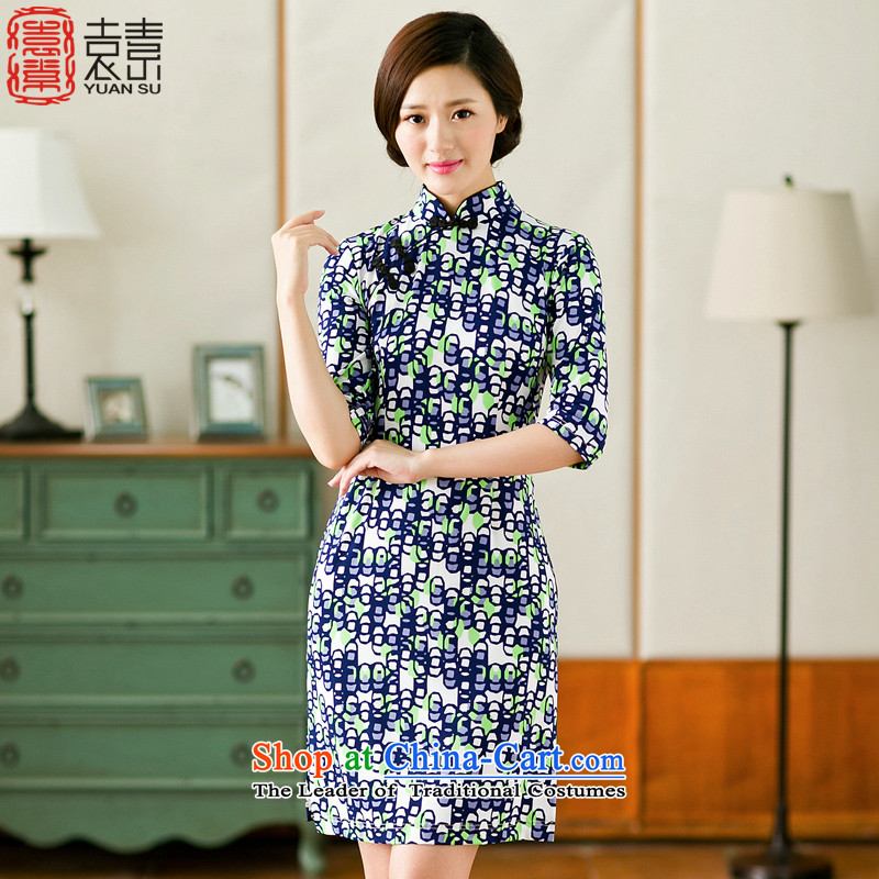 Mr YUEN Tze-pixel phthalocyanine?2015 improved cheongsam dress in cuff cheongsam dress Stylish retro-day qipao knitted dress?YS?Suit?M