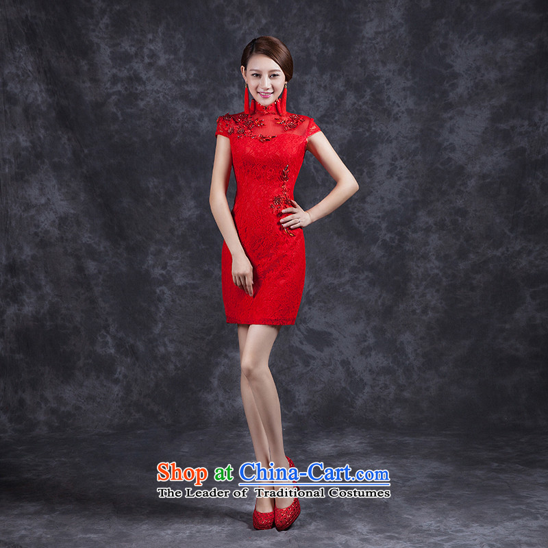 Ya Arts Square summer bows Service Bridal Wedding Dress Short skirts, improved qipao Summer 2015 new water-soluble lace Sau San Red�S