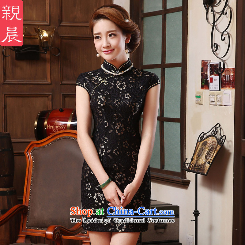 ? pro-am- 2015 new black lace summer mother who confesses ethnic decoration cheongsam dress photo color�2XL