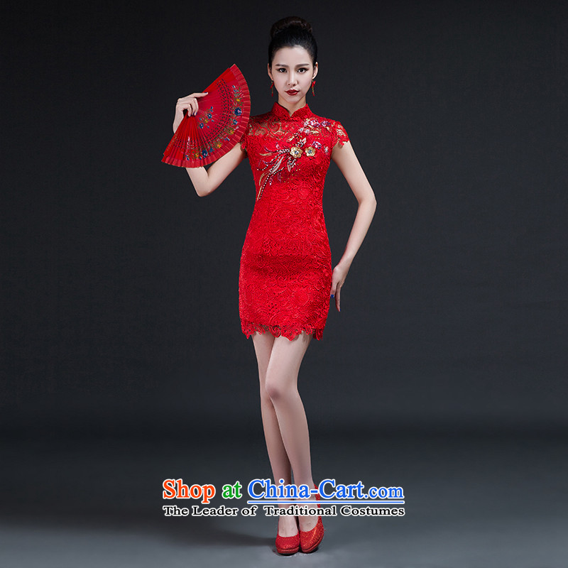 Had to hold workshop on arts stylish improvements Nga qipao 2015 new bride Korean video thin lace Sau San short of qipao skirt bows services red XXL Hsintien Red L