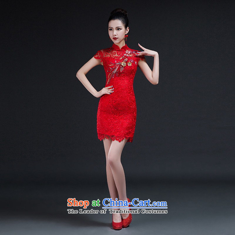 Had to hold workshop on arts stylish improvements Nga qipao 2015 new bride Korean video thin lace Sau San short of qipao skirt bows services red聽XXL Hsintien red聽, L, Nga Yi Square shopping on the Internet has been pressed.