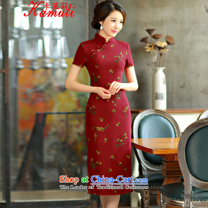 The li�           2015 Spring card summer retro graphics in Short Thin Sau San large cuff improved linen long skirt qipao Samui red 9007 M