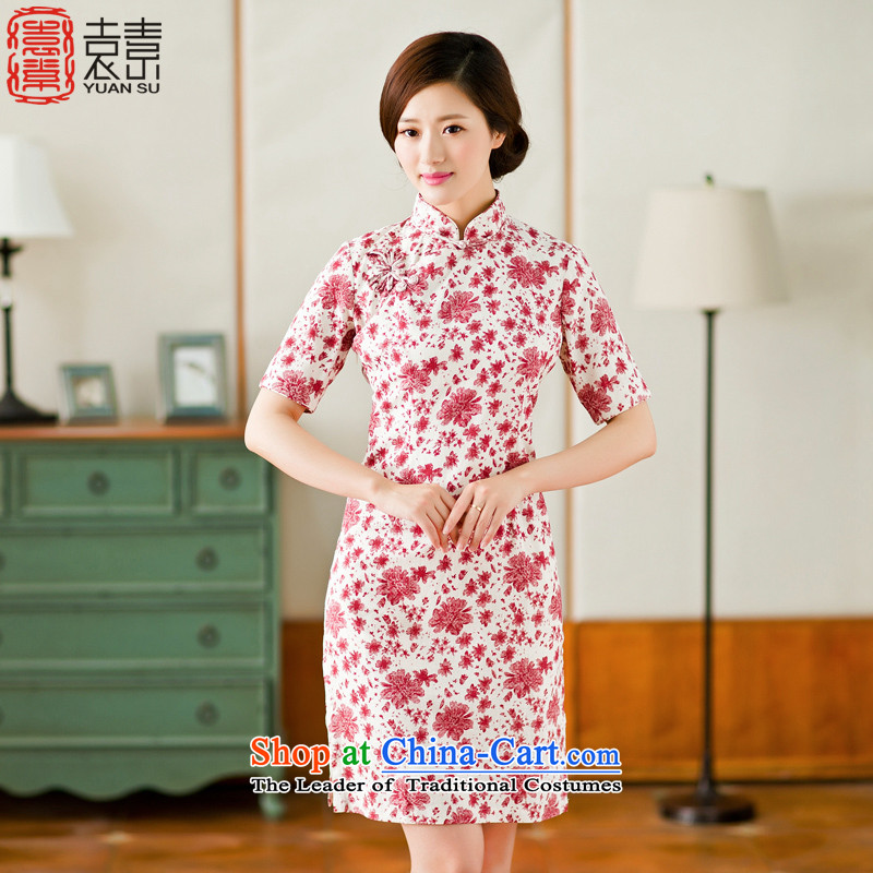 Yuan of 2015 summer flowers to stylish cheongsam dress cotton linen arts improved retro look qipao cheongsam dress YS RED XXL