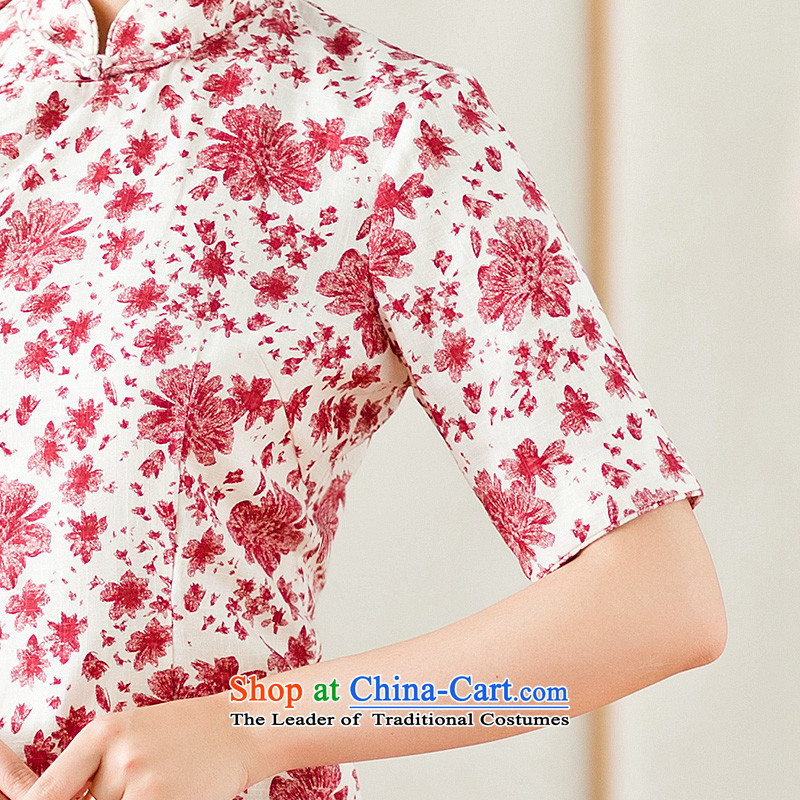 Yuan of 2015 summer flowers to stylish cheongsam dress cotton linen arts improved retro look qipao cheongsam dress YS  XXL, red (YUAN YUAN SU shopping on the Internet has been pressed.)