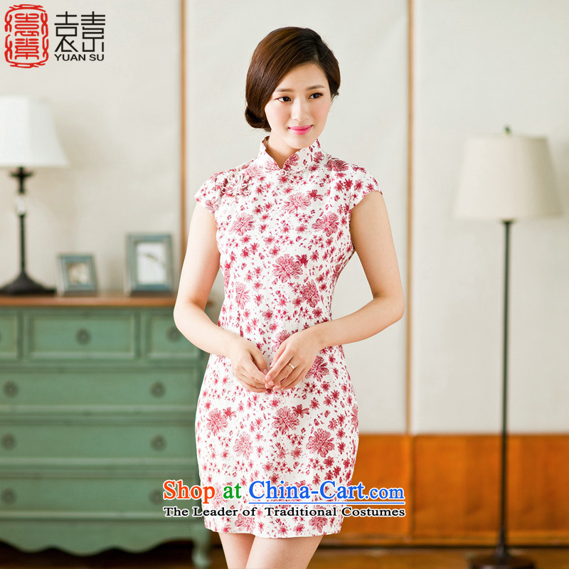 Yuan of bustling half sleeve retro cotton linen dresses skirt for summer 2015 new beauty qipao improved cheongsam dress YS RED M