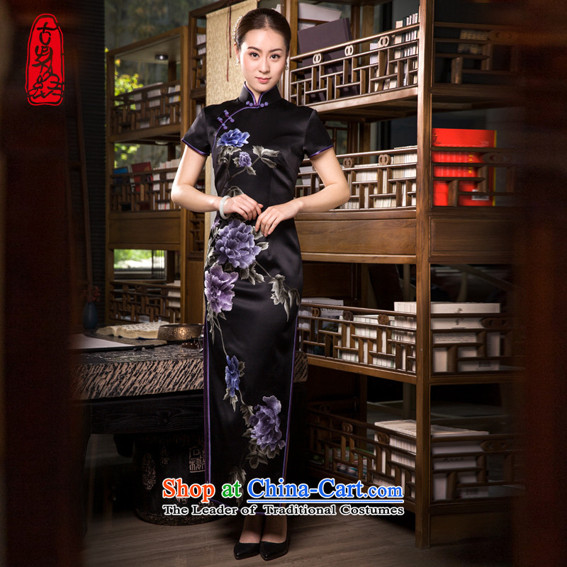 The Wu female red 2015 Summer New Ladies black high-end handicraft embroidery Silk Cheongsam Sau San long herbs extract elegant stamp ink Nga Mudan black?L