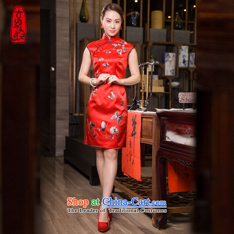 The Wu female red 2015 Summer new cheongsam improved silk pure handicraft embroidery red married women bows service sleeveless female Tang Red S