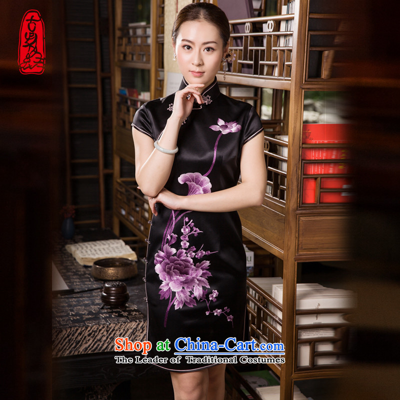 The Wu female red 2015 new cheongsam summer heavyweight silk cheongsam dress manually suzhou embroidery short qipao black - pre-sale black?S