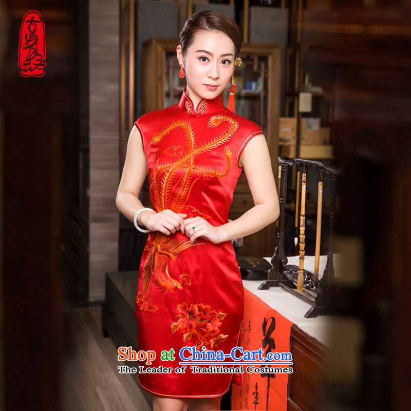 The Wu female red 2015 Summer Ms. New Red marriage handicraft embroidery silk cheongsam dress improved short of banquet sauna Bong-wearing red Mudan燲L