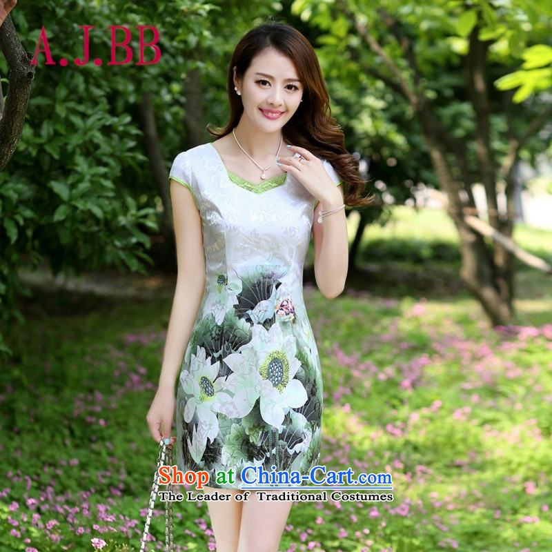Vpro only 2015 spring/summer apparel new cheongsam dress step   Graphics thin improved sassy green lotus XXL