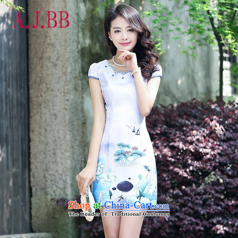 Only the 2015 summer attire vpro new **** Nga Sau San, temperament step skirt stamp retro look light violet?XXL