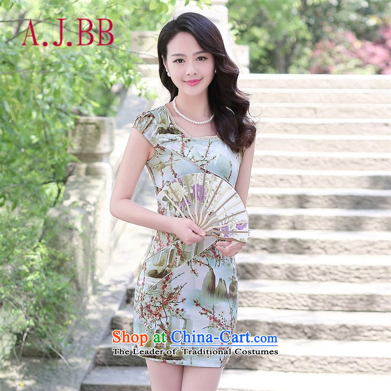 Only the 2015 summer attire vpro new elegant dresses improved round-neck collar stamp of ethnic women Sau San in on a red ground small yellow�XXL