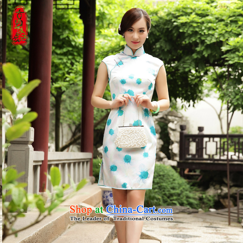 The Wu Women?2015 New Silk Cheongsam dress summer improved stylish graphics thin woman Sau San fresh wind dresses White?M
