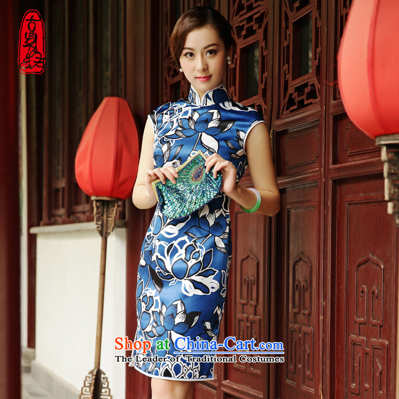 The Wu female red 2015 Summer new cheongsam dress improved silk body and short of daily blue qipao stamp燤
