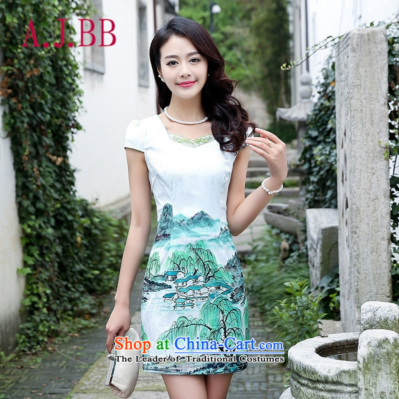 Only the 2015 summer attire vpro New Sau San short-sleeved video thin stamp and blue skirt package step willow?M
