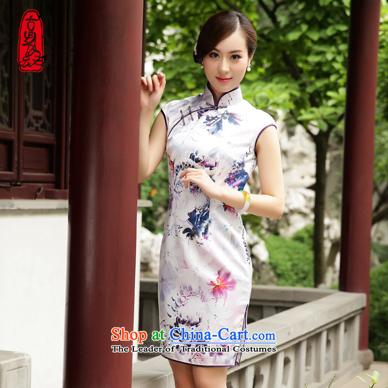 The Wu female red 2015 Summer New Silk Cheongsam dress improvements in women's daily dress short of Sau San White燲L