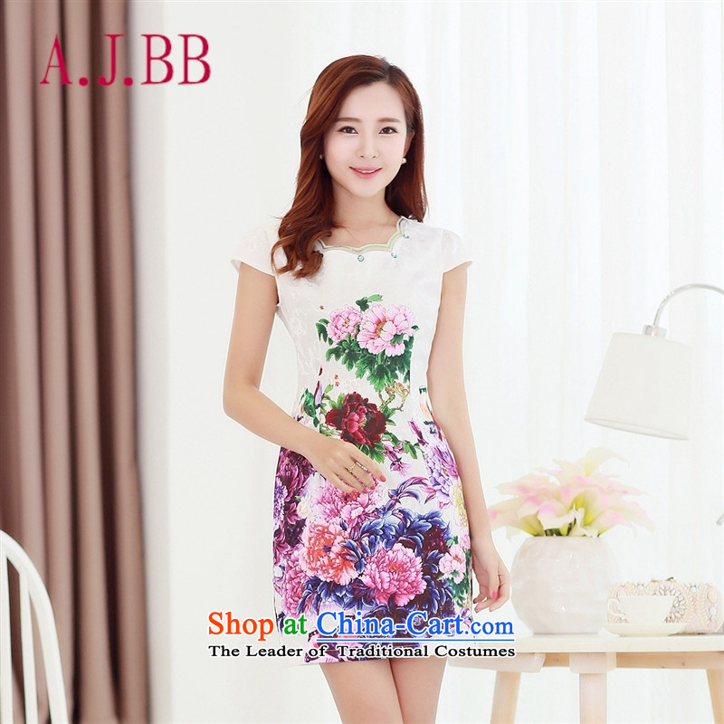 Vpro only 2015 spring/summer apparel new stamp pack and Stylish retro step skirt qipao Foutune of dresses floral M