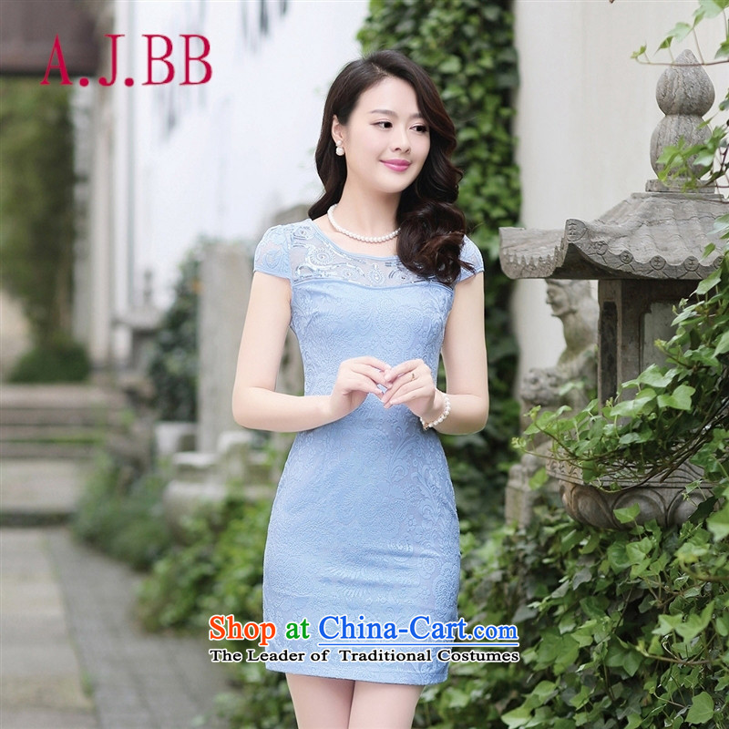 Vpro only dress 2015 Summer New Look cheongsam elegant package and video thin Sau San short-sleeved lace dresses blue�XXL