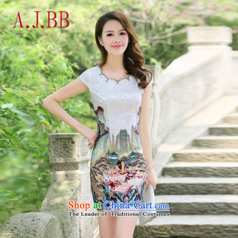 Only the 2015 summer attire vpro new qipao retro look Ms. video thin stylish improvements Sau San Green Beauty Figure XXL
