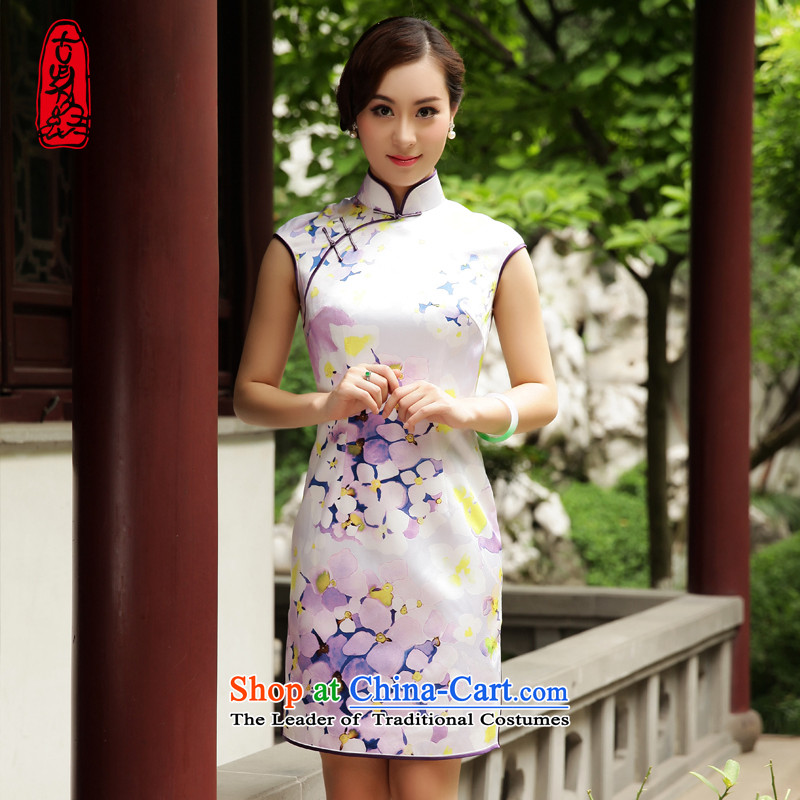 The Wu female red 2015 Summer new cheongsam improved silk-to-day banquet short Sau San for women elegant stamp light purple L