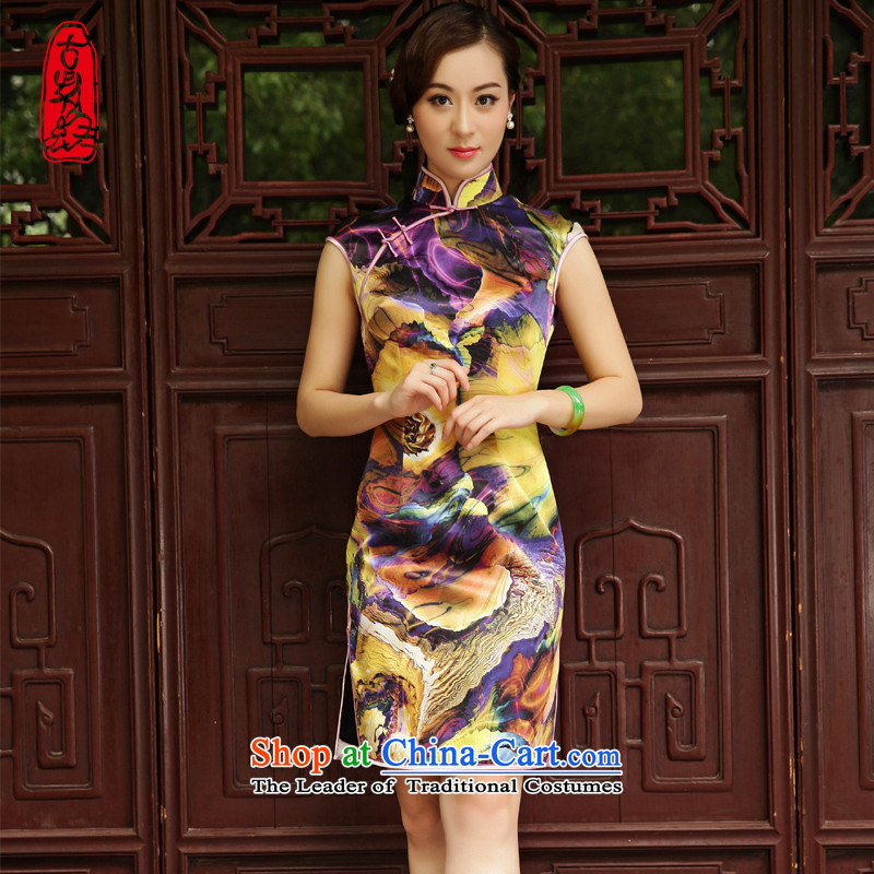 The Wu female red 2015 Summer New Silk Cheongsam dress improved Sau San single qipao short for women dresses khaki?L