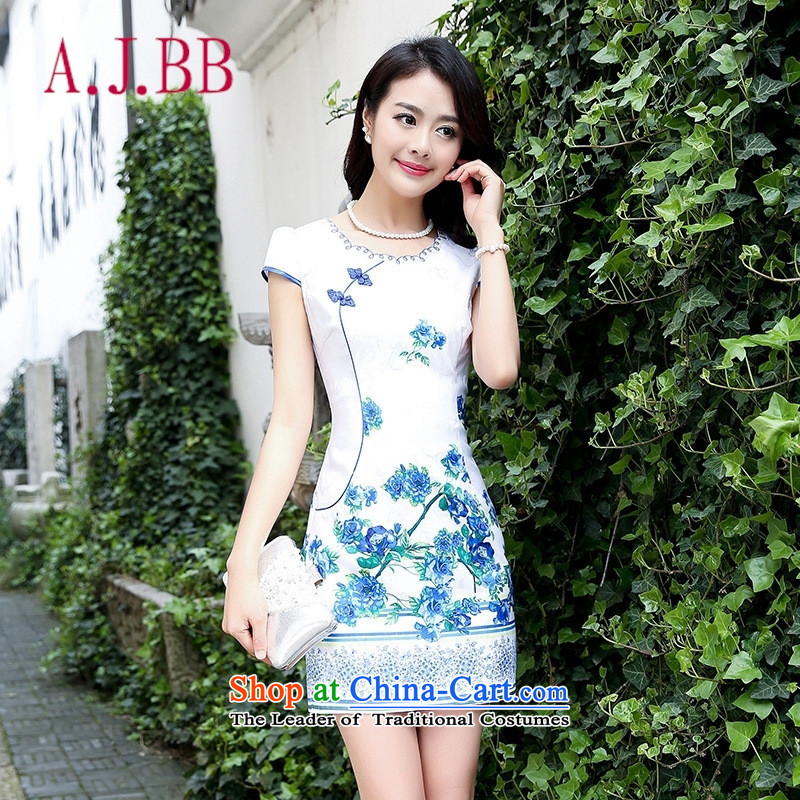 Only the 2015 summer attire vpro new dress short-sleeved Sau San retro qipao and national child light blue package spend燲XL