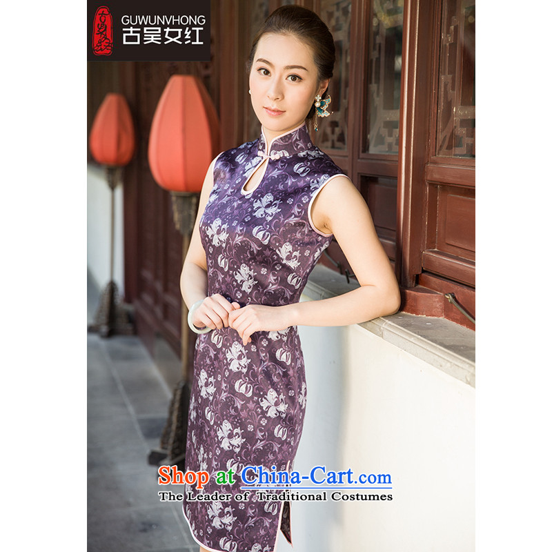 The Wu female red 2015 Summer new cheongsam improved silk Foutune of daily short of banquet style reminiscent of the Tang dynasty female purple XL