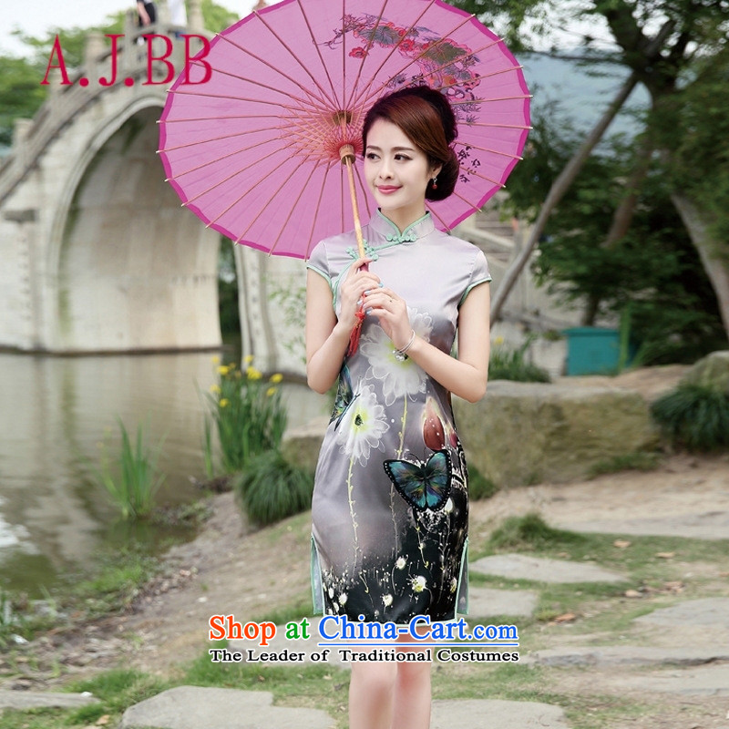 Only the 2015 summer attire vpro new qipao retro look Ms. video thin stylish improvements Sau San gray bottom butterfly燣