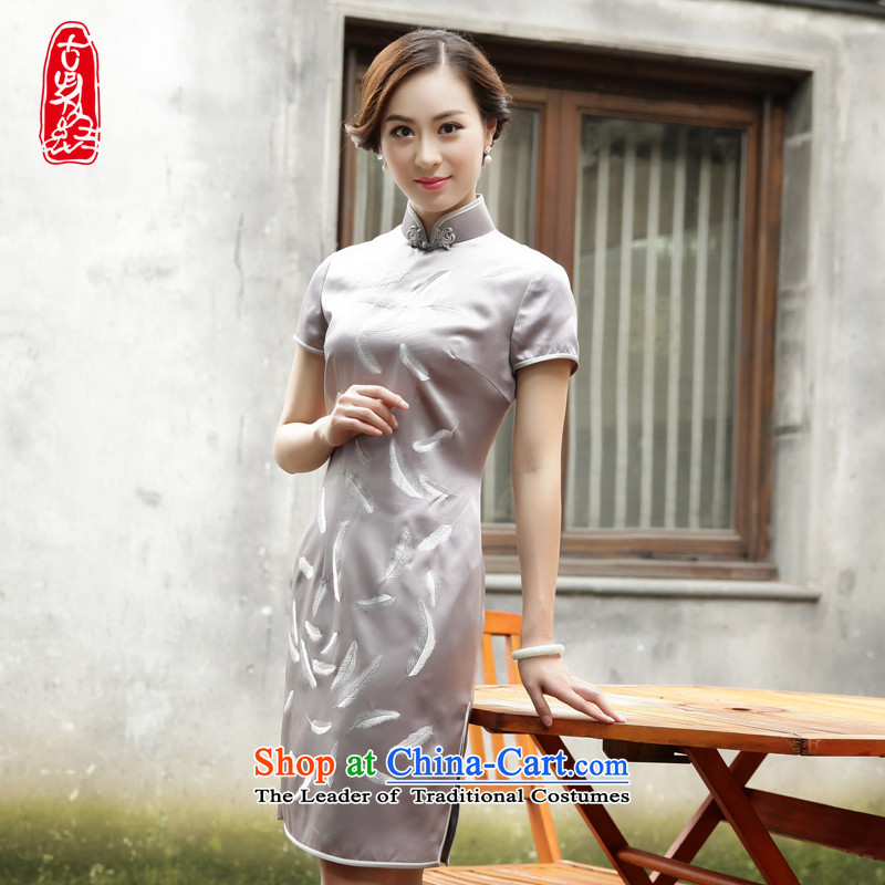 The Wu Female Red?Plain manual new 2015 silk cheongsam dress embroidery decorated in short summer for women dress feather?XL