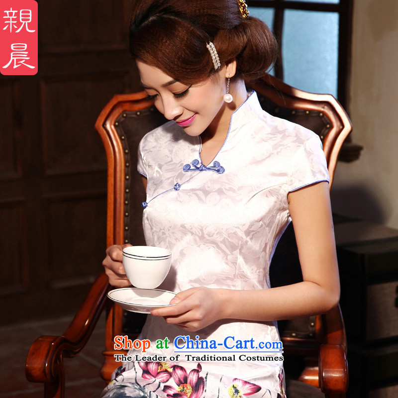 ? pro-am-�15 new summer short of daily retro Sau San improved short-sleeved stylish cheongsam dress photo color�L